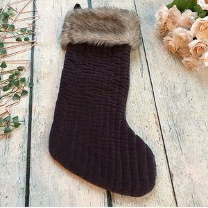 Indigo Christmas stocking fur velvet brown holiday